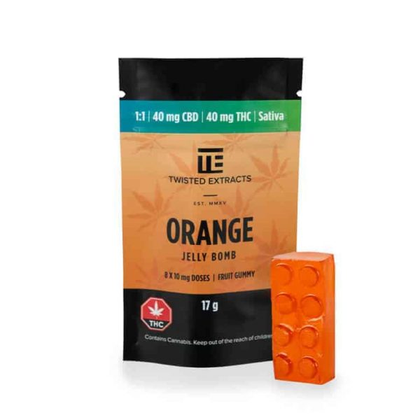 Orange SATIVA 1:1 JELLY BOMBS – Twisted Extracts